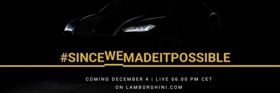 Lamborghini Urus unveil 5pm GMT